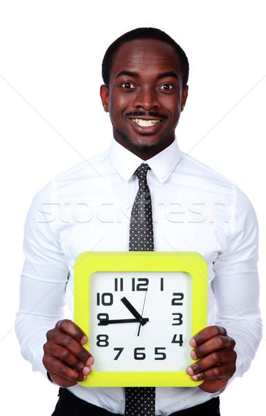 Время-деньги красивый африканских человека часы Сток-фото © deandrobot