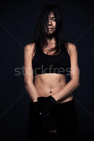 Portrait épuisé femme permanent noir Photo stock © deandrobot