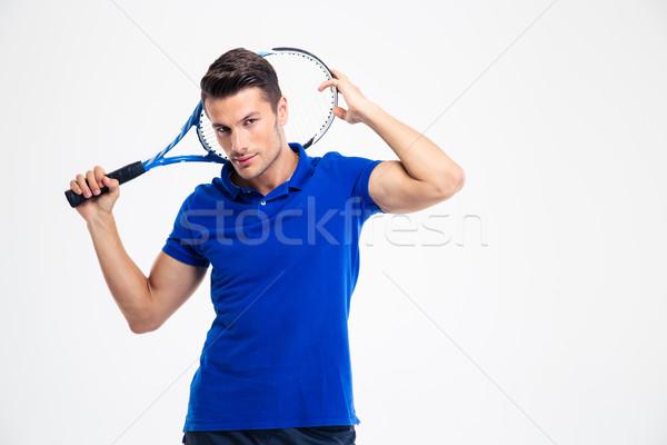 Portré jóképű férfi teniszező áll izolált Stock fotó © deandrobot
