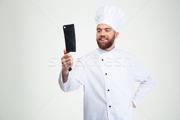 Stock photo: Male chef cook holding big knife cleaver
