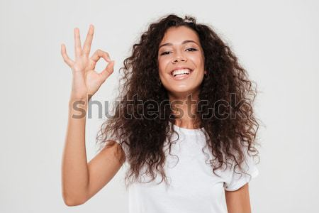 Portrait of a frightened afro american woman Stock photo © deandrobot
