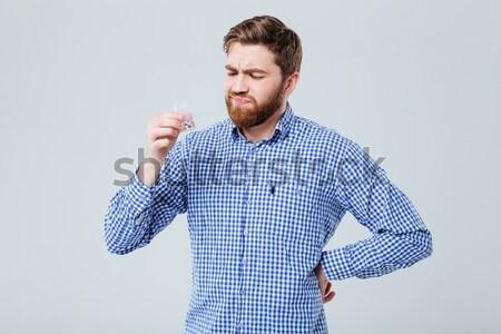 肖像 セクシー マッチョ シャツ 孤立した 白 ストックフォト © deandrobot