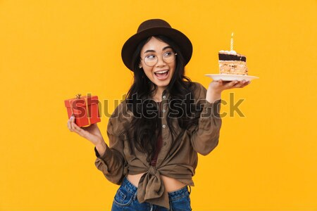Funny woman playing role of devil standing over chalkboard  Stock photo © deandrobot