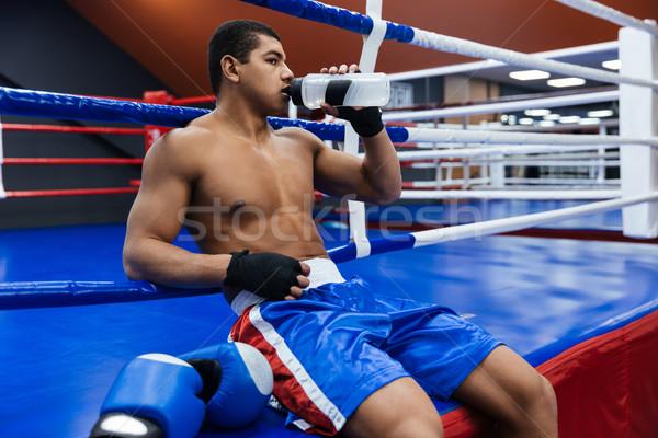 мужчины Боксер питьевая вода бокса кольца Сток-фото © deandrobot