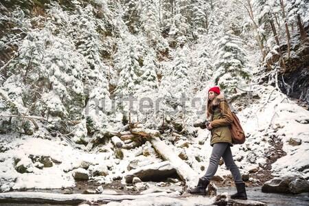 Handsome bearded man walking near waterfall in winter forest Stock photo © deandrobot