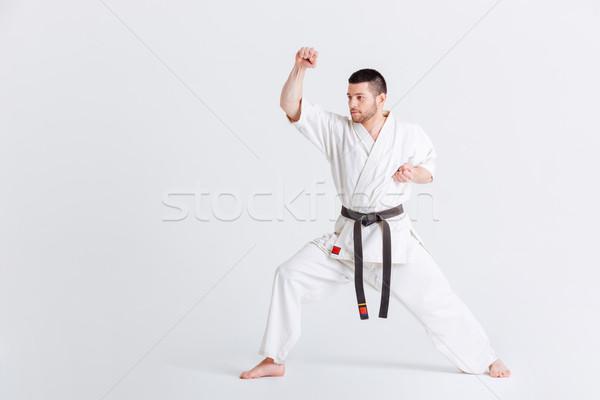 мужчины истребитель подготовки изолированный белый человека Сток-фото © deandrobot