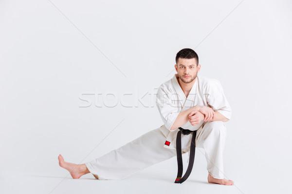 Adam kimono kavga yalıtılmış beyaz spor Stok fotoğraf © deandrobot