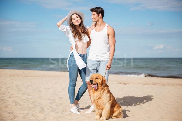 романтические Постоянный морем берега собака Сток-фото © deandrobot