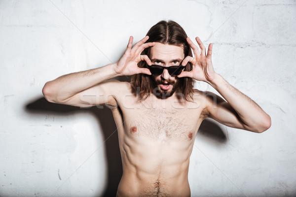 Foto stock: Jovem · barbudo · homem · olhando