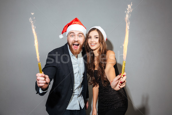 Christmas paar liefde student pak leuk Stockfoto © deandrobot