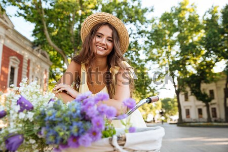 Brunette woman in beachwear Stock photo © deandrobot
