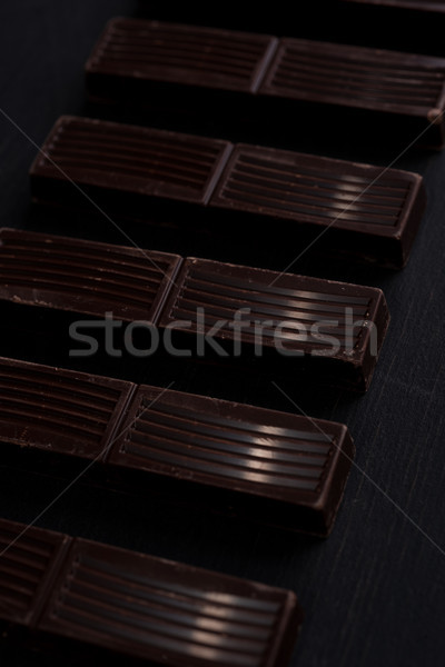 Pure chocola bar tegels rij houten Stockfoto © deandrobot
