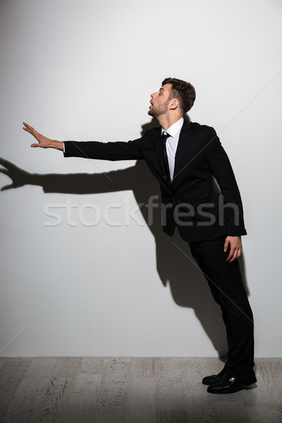 Full length portrait of attractive man in black suit standing wi Stock photo © deandrobot