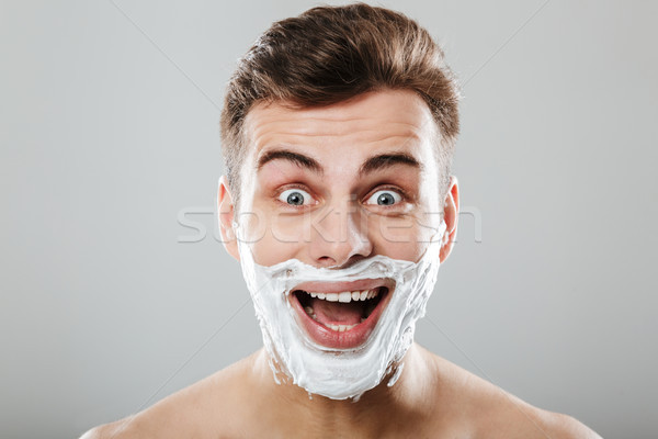 Portret opgewonden man schuim gezicht Stockfoto © deandrobot
