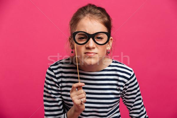 Stok fotoğraf: Konsantre · genç · kız · sahte · gözlük · görüntü
