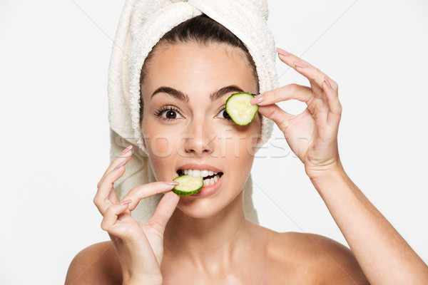 Close up beauty portrait of a healthy half naked woman Stock photo © deandrobot