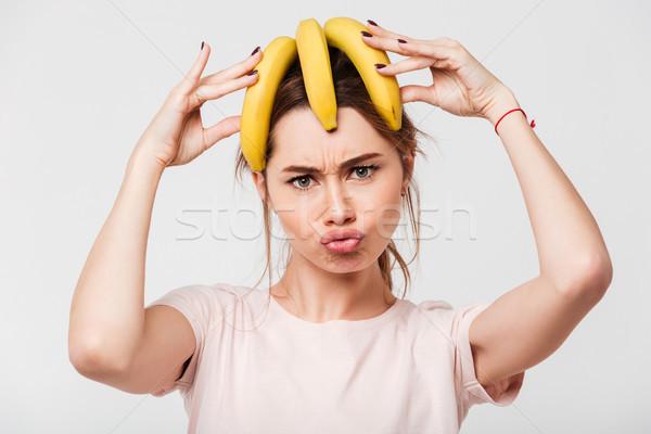 портрет Crazy бананы голову Сток-фото © deandrobot