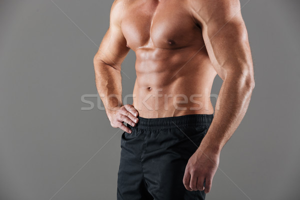 Close up of a muscular fit male bodybuilder torso Stock photo © deandrobot