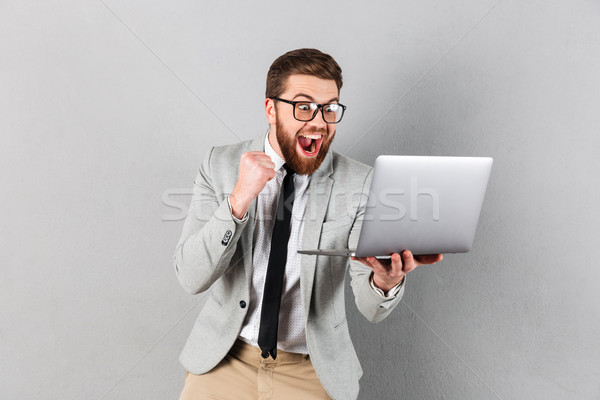 Portret tevreden zakenman pak bril Stockfoto © deandrobot