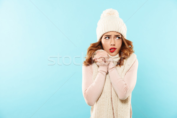Portrait of a frozen pretty girl Stock photo © deandrobot