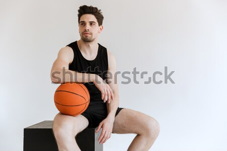 Cropped image of a young half naked sportsman Stock photo © deandrobot