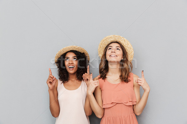 Portrait of two happy multiethnic women, caucasian and african a Stock photo © deandrobot