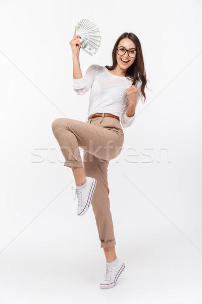 Tam uzunlukta portre mutlu Asya işkadını Stok fotoğraf © deandrobot