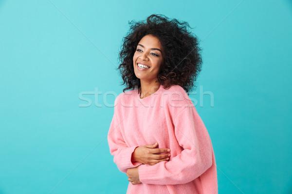 изображение красивая женщина 20-х годов афро прическа смеясь Сток-фото © deandrobot
