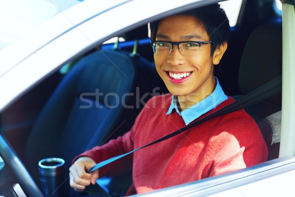 Knap gelukkig asian man auto Stockfoto © deandrobot