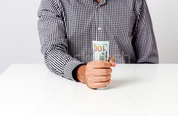 Afbeelding zakenman bankbiljetten bureau business Stockfoto © deandrobot