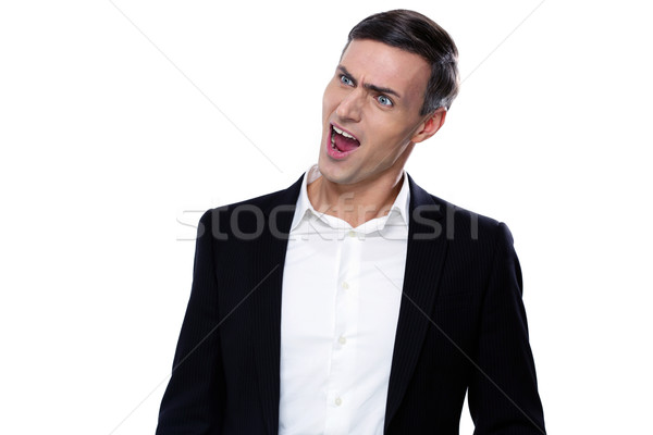 Portrait of a funny young businessman with mouth open Stock photo © deandrobot