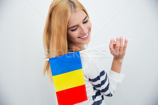 Nő tart román boldog fiatal nő zászló Stock fotó © deandrobot