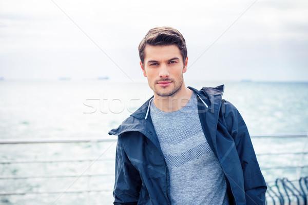 Spor adam ayakta açık havada portre yakışıklı Stok fotoğraf © deandrobot