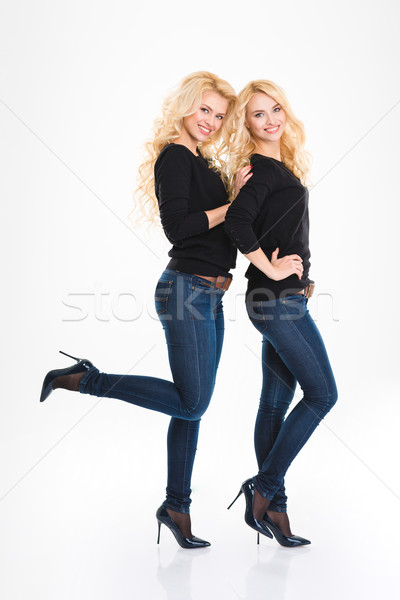Full length portrait of a happy sisters twins Stock photo © deandrobot
