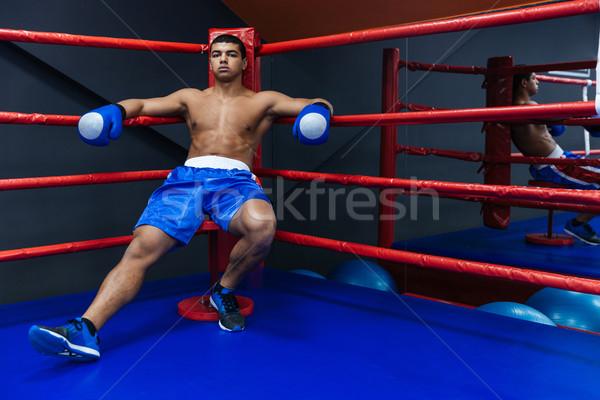 Boxer riposo anello sport finestra potere Foto d'archivio © deandrobot