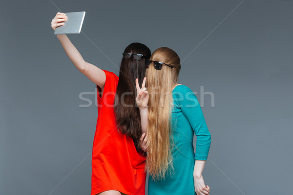 Two comical women with faces covered by hair taking selfie Stock photo © deandrobot