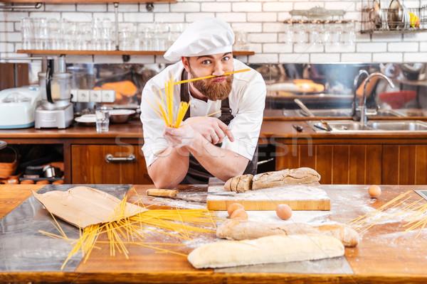 Komik fırıncı bıyık macarons mutfak Stok fotoğraf © deandrobot