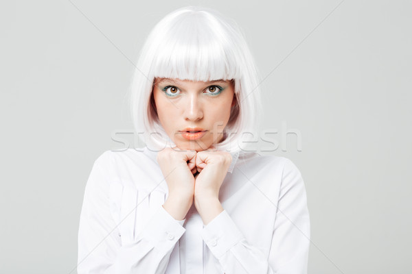 Portrait timide cute jeune femme cheveux blonds blanche Photo stock © deandrobot