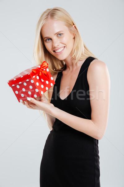 улыбаясь черное платье шкатулке изолированный Сток-фото © deandrobot