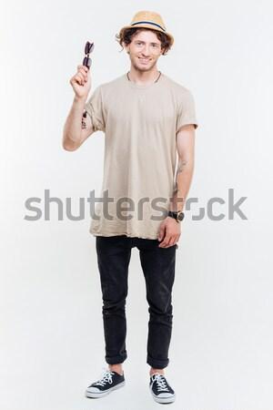 Mylić przystojny młody człowiek stałego model shirt Zdjęcia stock © deandrobot