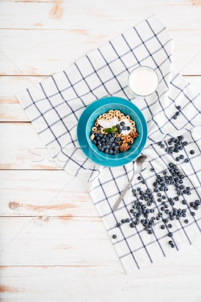 Stock fotó: Gabonapehely · reggeli · bogyók · felső · kilátás · granola