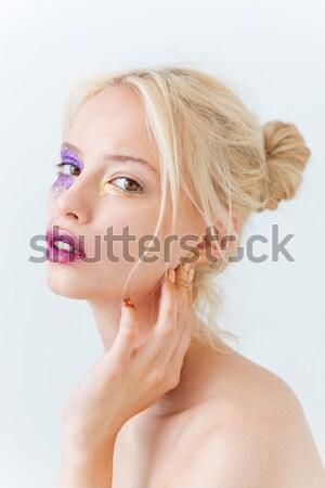 Beleza retrato menina criador make-up tocante Foto stock © deandrobot