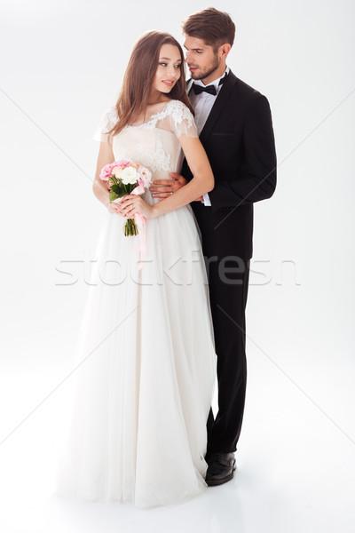 Foto stock: Retrato · recém-casados · isolado · branco · casamento · casal