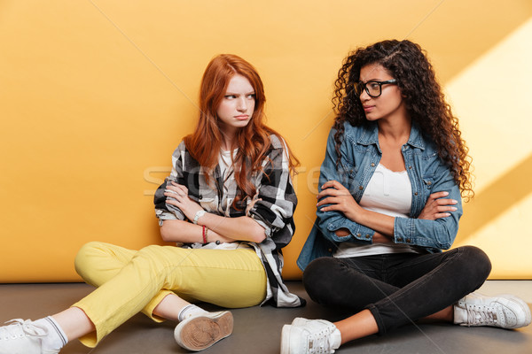Two sad offended young women sitting with arms crossed Stock photo © deandrobot