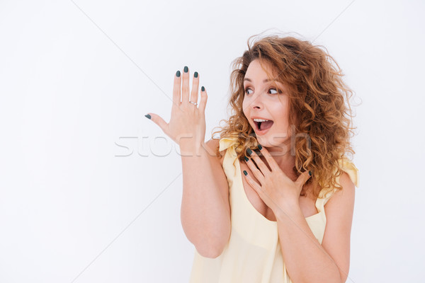 Funny woman in singlet Stock photo © deandrobot