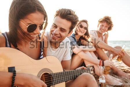 幸せ カップル ギター テント 画像 ストックフォト © deandrobot