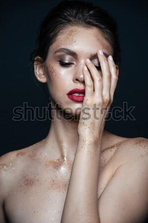 şaşırtıcı Asya model dokunmak yüz eller Stok fotoğraf © deandrobot