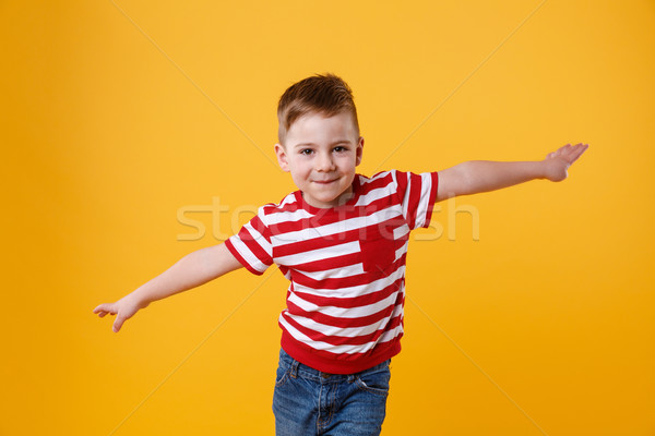 Smiling kid standing with hands spread wide Stock photo © deandrobot