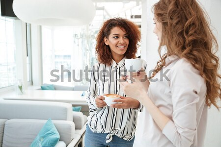 Dialogue of two young women sitting in cafe Stock photo © deandrobot