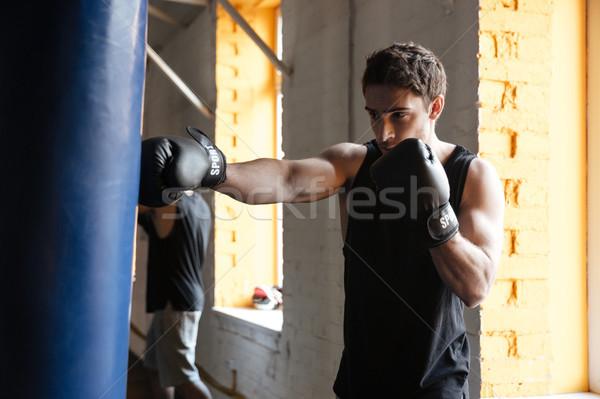 Fuerte boxeador formación gimnasio foto jóvenes Foto stock © deandrobot